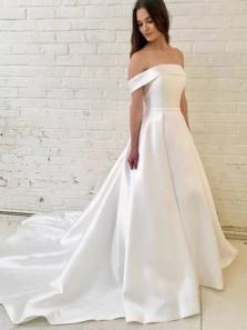 Elegant Off the Shoulder Ruffled Satin Wedding Dresses with Pockets