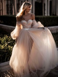 Ball Gown Off the Shoulder Sweetheart Ruffled Tulle Wedding Dresses