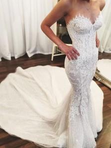 Vintage Mermaid Sweetheart Sequins & Lace Wedding Dresses