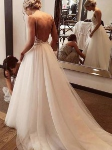 Boho A Line V Neck Spaghetti Straps Backless Tulle Wedding Dresses, Fairy Wedding Gowns