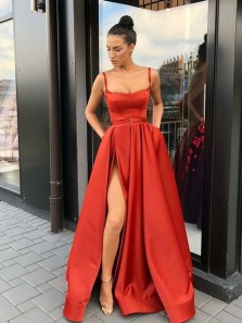 Modern Ball Gown Scoop Neck Straps Red Satin Long Prom Dresses with Split, Elegant Evening Party Dresses with Pockets
