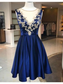Fashion A-Line Jewel Royal Blue Sleeveless Short Homecoming Dresses With Appliques