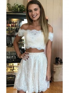 Sweet 16 Ivory Lace Short Two-Piece Off Shoulder Homecoming Dresses Under 100