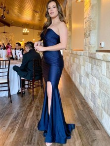 Charming Mermaid One Shoulder Navy Blue Satin Prom Dresses, Slit Evening Party Dresses
