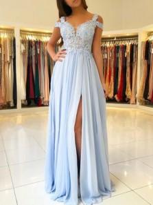 Light Blue Chiffon Off The Shoulder Prom Dresses, Lace Appliques Formal Evening Dresses