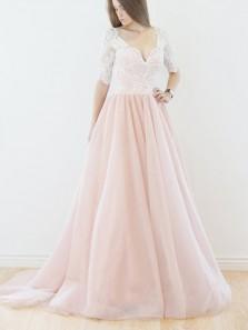 Elegant A-line V Neck Half Sleeves Pink Long Tulle Wedding Dress
