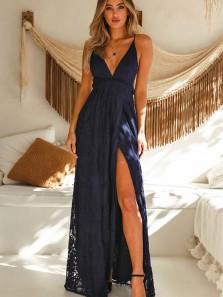 Charming Sheath V Neck Spaghetti Straps Navy Lace Slit Prom Dresses, Elegant Evening Party Dresses