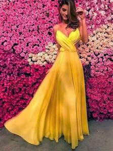 Charming A Line V Neck Spaghetti Straps Yellow Chiffon Long Prom Dresses Under 100, Fashion Evening Dresses