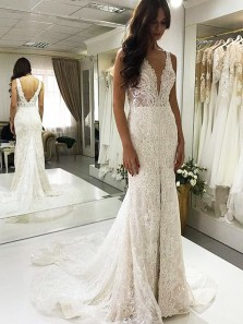 Gorgeous Mermaid V Neck Open Back Lace Long Wedding Dresses, Sparkly Slit Wedding Dresses with Train