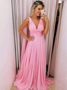 Charming A Line V Neck Pink Chiffon Long Prom Dresses, Elegant Evening Party Dresses