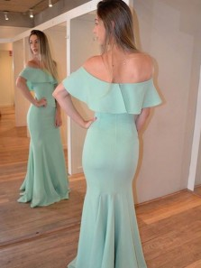 Charming Mermaid Off the Shoulder Mint Elastic Satin Long Prom Dresses Under 100, Elegant Evening Party Dresses
