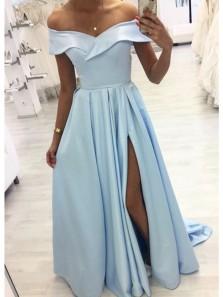 Elegant A Line Off the Shoulder Slit Light Blue Long Prom Dresses, Elegant Evening Dresses
