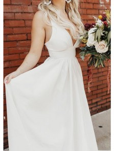 Modest Ball Gown V Neck Open Back Spaghetti Straps Wedding Dresses with Pockets, Satin Wedding Gowns