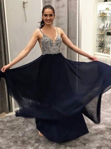 Cute A Line V Neck Spaghetti Straps Navy Chiffon Long Prom Dresses with Beaded, Formal Evening Party Dresses