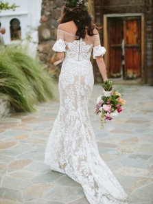 Elegant Sheath Off the Shoulder White Lace Long Wedding Dresses, Half Sleeves Beach Wedding Dresses
