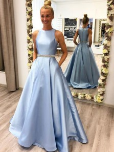Gorgeous Ball Gown Round Neck Light Blue Satin Long Prom Dresses with Beaded, Pockets Prom Gowns