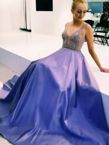 Charming V Neck Open Back Beaded Prom Dresses with Pockets, Light Purple Prom Dresses