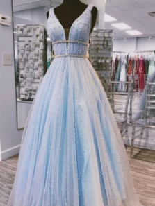 Charming A Line V Neck Open Back Light Blue Beaded Long Prom Dresses, Pearl Quinceanera Dresses