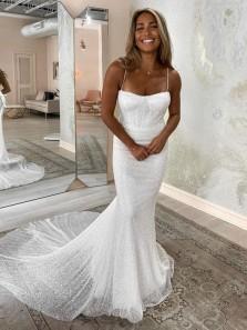 Fashion Charming Spaghetti Straps Mermaid Sparkly White Sequins Wedding Dresses for Bride