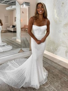 Fashion Charming Spaghetti Straps Mermaid Sparkly White Sequins Wedding Dresses for Bride