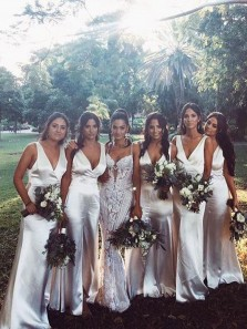 Sheath Mermaid V Neck Silver Satin Bridesmaid Dresses with Split