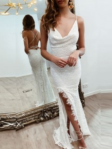 Sheath Mermaid V Neck Spaghetti Straps White Lace Evening Party Dresses, Chic Split Prom Dresses