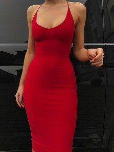Sexy Mermaid Spaghetti Straps Red Elastic Satin Long Prom Dresses, Evening Party Dresses Under 100