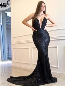 Charming Mermaid Deep V Neck Spaghetti Straps Black Sequins Evening Dresses, Sparkly Prom Dresses