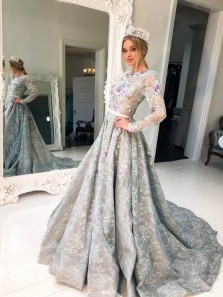 Gorgeous Ball Gown Fairy Long Sleeves Grey Lace Prom Dresses, Sweet 16 Dresses, Quinceanera Dresses