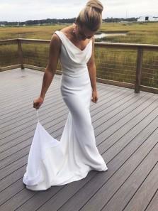 Elegant Mermaid Ruffled Neck White Soft Satin Wedding Dresses with Train