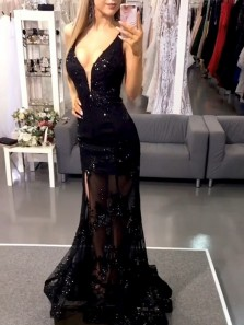 Sparkly Mermaid Deep V Neck Black Sequins Lace Prom Dresses, Chic Evening Party Dresses