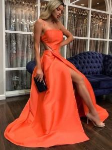 Charming A Line Spaghetti Straps Orange Satin Split Prom Dresses, Open Back Party Dresses