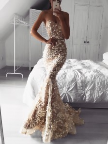 Gorgeous Mermaid Sweetheart Open Back Leaf Lace Champagne Wedding Dresses