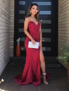 Chic Mermaid Sweetheart Dark Red Satin Split Prom Dresses, Formal Evening Party Dresses Under 100