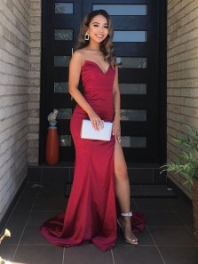Chic Mermaid Sweetheart Dark Red Satin Split Prom Dresses, Formal Evening Party Dresses Under 100