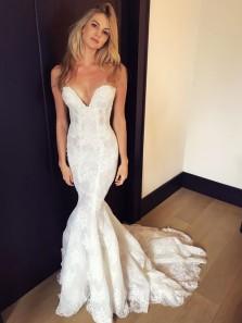 Chic Mermaid Sweetheart White Lace Wedding Dresses
