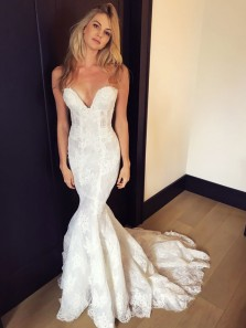 Chic Mermaid Sweetheart White Lace Wedding Dresses