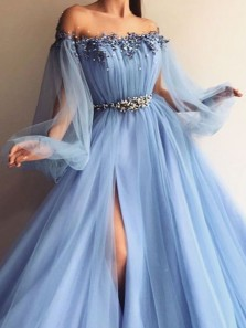Ball Gown Off the Shoulder Light Blue Tulle Beading Long Prom Dresses with Split