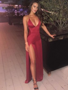 Simple Sheath V Neck Spaghetti Straps Dark Red Prom Dresses with Split, Sexy Evening Party Dresses