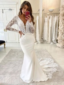 Elegant Mermaid V Neck Long Sleeves Lace White Wedding Dresses with Appliques, Discount Wedding Dresses