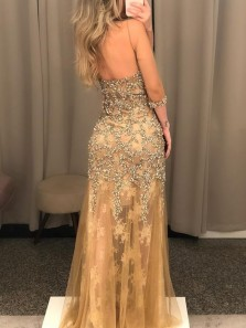 Charming Mermaid Round Neck Half Sleeves Beading Champagne Prom Dresses, Lace Evening Party Dresses