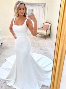 Elegant Mermaid Square Neck White Satin Wedding Dresses with Court Train