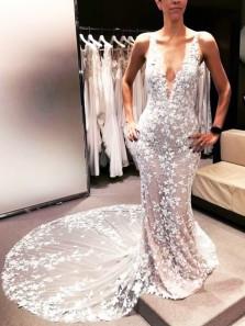 Charming Mermaid V Neck Open Back Lace Wedding Dresses, Boho Wedding Dresses