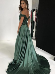 Elegant A Line Off the Shoulder Slit Dark Green Satin Long Prom Dresses with Appliques, Elegant Evening Party Dresses