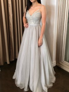 Sparkly A Line V Neck Spaghett Straps Grey Tulle Beaded Long Prom Dresses, Evening Party Dresses