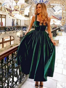 1950's Vintage Sweetheart Dark Green Velvet Prom Dresses, Elegant Party Dresses Under 100 PD2010502