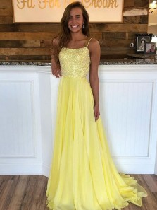 Cute A Line Scoop Neck Cross Back Sequins Yellow Long Prom Dresses, Daffodil Evening Party Dresses