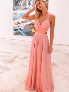 Cute A Line V Neck Spaghetti Straps Coral Long Prom Dresses Under 100, Cheap Evening Dresses