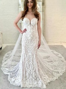 Gorgeous Mermaid Sweetheart Lace Long Wedding Dresses with Court Train