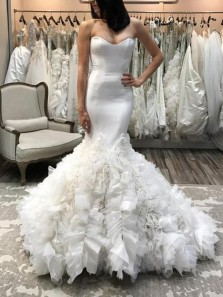 Gorgeous Ball Gown Sweetheart Mermaid Fairy Tulle Wedding Dresses with Ruffled
